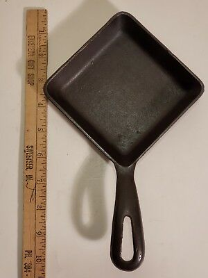 "Vintage Griswold #53 Cast Iron Square Egg Skillet - Small Logo; ""4"" on handle"
