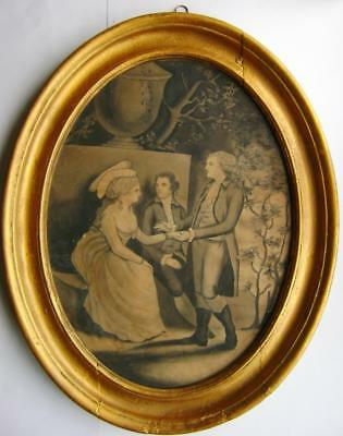 Genre 18Thc  Manner Angelica Kaufman Seated Lady With Two Gentlemen W/col C1795