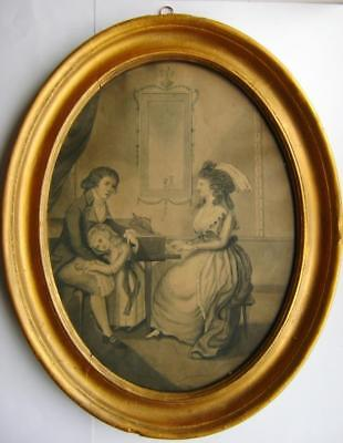Genre 18Thc  Manner Angelica Kaufman Lady Playing Harpsicord  W/col C1795