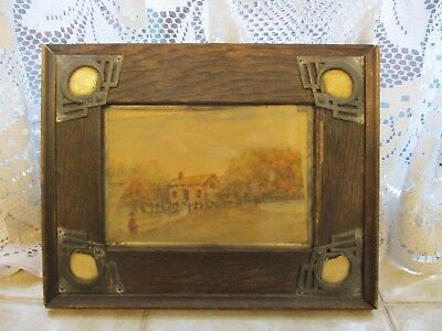 Small Antique/ Vintage Painting with Arts and Crafts? Wooden Frame Cottage