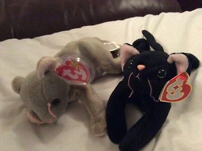 "TY Beanie  Babies Cats SCAT and ZIP plush Toy 8"" (20cm) retired"