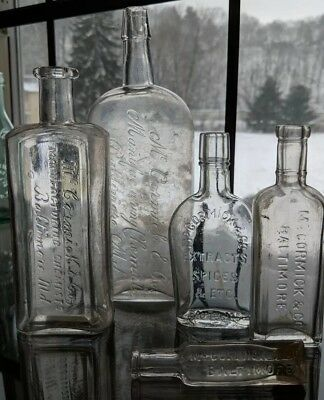 Lot 5 Antique McCormick Spice Extract Chemical Bottles Baltimore Maryland MD