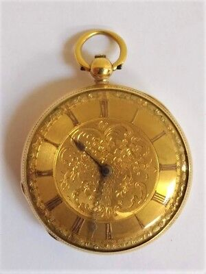 Early Victorian Solid 18ct Yellow Gold Open Face Pocket Watch for Repair