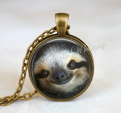 Adorable SLOTH Handmade Glass Pendant Necklace Jewelry