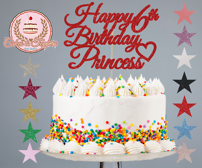 Astonishing Glitter Cake Topper Decorations Happy Birthday Princess 1St 2Nd Personalised Birthday Cards Paralily Jamesorg