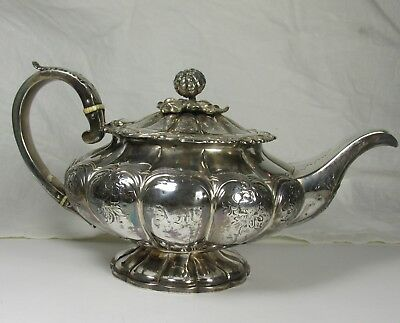Exquisite London Made Sterling Silver Melon Teapot Dated for 1831-1832 by WK