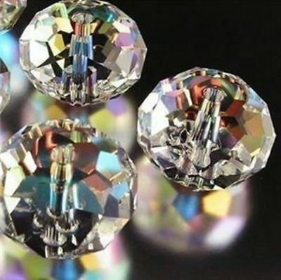 New 6*8mm 70PC Faceted clear AB Rondelle glass Crystal Beads