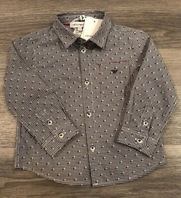 BNWT EMPORIO ARMANI Baby Boys Blue Check Shirt Age 6-12 Month - RRP £70