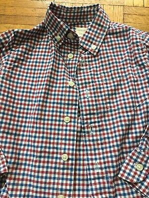 Crewcuts Toddler Boy Collared Button Down Plaid Shirt Size 3 Red Blue White