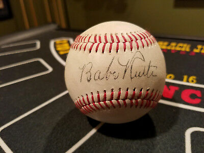 Babe Ruth Red Stitched Signed Reprint Baseball