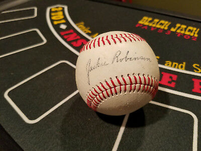 Jackie Robinson Red Stitched Signed Reprint Baseball