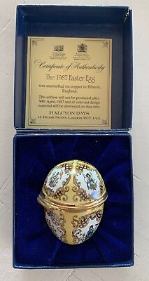 Halcyon Days Enamels Easter Egg Shape 1987 with certificate of authenticity