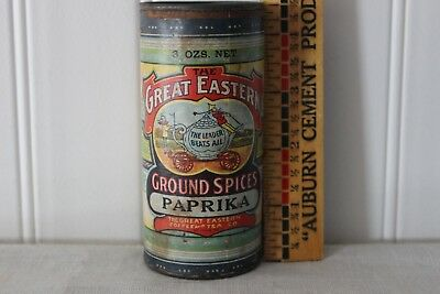 SCARCE 1900s GREAT EASTERN BRND ANTIQUE SPICE TIN; LITHOGRAPH LABEL ON CARDBOARD