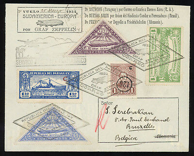Paraguay 1932 beautiful Zeppelin cover to Belgium, LZ127 1st South Am. flight