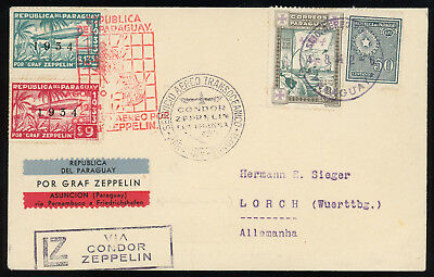 Paraguay 1934 beautiful Zeppelin cover to Germany, LZ127 5th South Am. flight