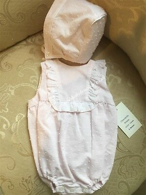 Spanish Baby Girls Pink Romper & Bonnet set various sizes BNWT Romany