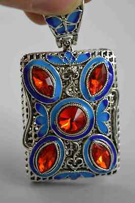 Collectable Handword Miao Silver Inlay Aagte Carve Hollow Out Tibet Old Pendant