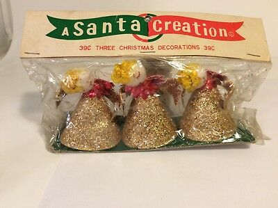 Vintage 3 choir caroler angels spun cotton chenille glitter foil in package