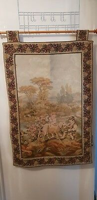 Vintage French style tapestry wall hanging two boys with goat Scene with poll