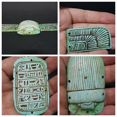 Rare ANCIENT EGYPTIAN Large Winged Scarab Beetle With Hieroglyphics Stone 664 BC