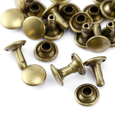 100x 6/8/10mm Double Cap Tubular Rivets for Jeans Shoes Bag Leather Crafts