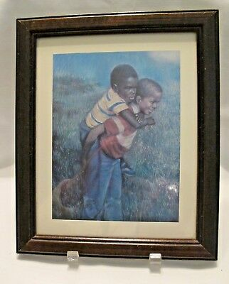 Vintage Black Americana Framed Print  Little Boys He's Not Heavy He's My Brother