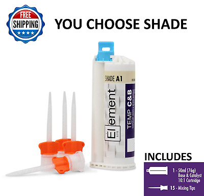 ELEMENT Temporary Crown and Bridge Material Cartridge w/ 15 tips  A1,A2,A3 or B1