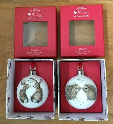 2 X Wrendale Royal Worcester Christmas Baubles Hedgehog & Hare Brand New In Box