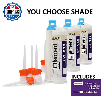 3 ELEMENT Temporary Crown and Bridge Material Cartridges &45 tips A1,A2,A3 or B1