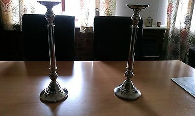 great pair of large  silver plated candlesticks