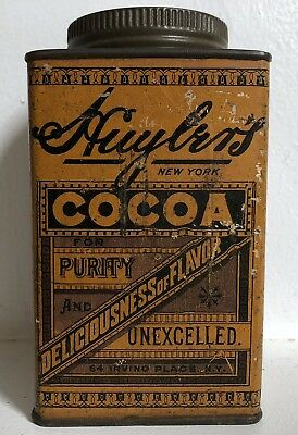 Huylers Cocoa Tin Embossed Lid Vtg Pie Safe Antique Farmhouse Decor #2