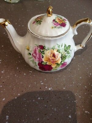 Vintage Sadler Teapot English Rose Gild Gold #3863