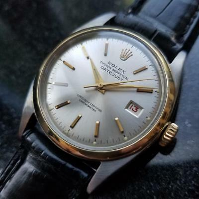 ROLEX Men's Rare 14K Gold & SS Oyster Datejust 6105 Automatic c.1962 Swiss MS178
