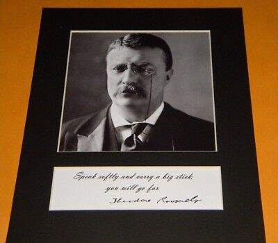 Theodore Teddy Roosevelt Big Stick Quote Photo Reprint Signature Display