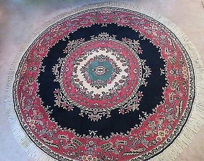VTG PERSIAN ORIENTAL WOOL RUG - 6' ROUND - HAND TIED- 1970's -Navy, Rose, Cream