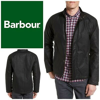 NWT Barbour Drywax Chrome Slim Fit Jacket Black Men's Sz S Water Repellent New