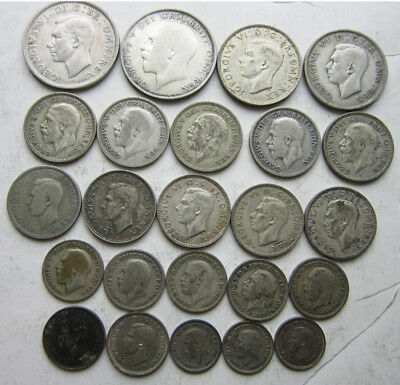 English Silver lot: Nice variety: 24 coins