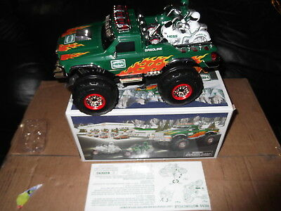 2007 Hess Monster Truck & motorcycles mint in box & rare seasons greetings card