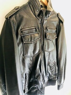 Tommy Hilfiger Fleece-Lined Aviator Bomber Jacket Dark Brown Faux Leather, Small