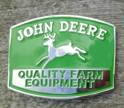 John Deere Tractor Belt Buckle Silver / Green NEW Lg Sun 5 auction