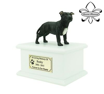Staffordshire Bull Terrier Urn with personalized figurine
