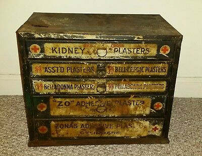 Rare Antique JOHNSON & JOHNSON Medical First Aid Cabinet Kit Box Store Display