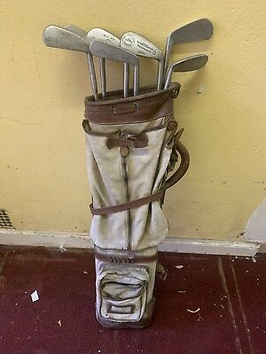 Job Lot Of Antique Vintage Golf Clubs And Age Related Bag Rapier Range Finder