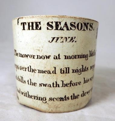 19C Staffordshire Brown Transferware Child's Seasons Verse Nursery Cup Mug 1840s
