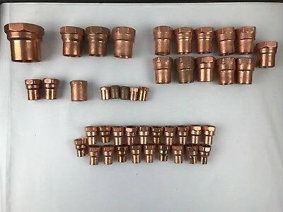 23 Piece - Female Copper Threaded Adapter Fitting LOT - Various Sizes NIBCO EPC
