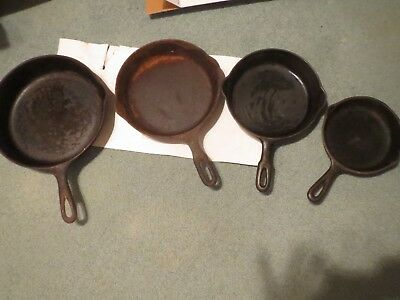 Four Antique Cast Iron Frying Pans 2 WagnerWare Others Unmarked Need Restoration