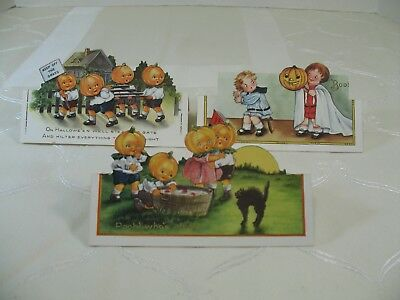 Three Vintage Whitney Halloween Postcards  Stand Up Postcards