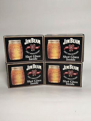 4 Jim Beam Shot Glasses 200th Anniversary Brand New with Boxes