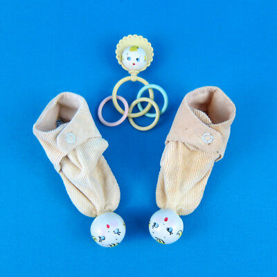 VTG 1950s Baby Rattle Booties Little Goody Toy SHOES Krueger NYC Childrens faces