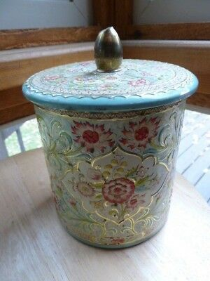 Vintage Floral Metal Canister Container w/Lid Made in England Gold Tone Gilt